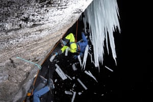 """Honourable mention: Rainer Eder Austria """"The photo was taken at night at -14ºC. I wanted to show what happens if an ice climber hits the ice when falling on the rope"""""""