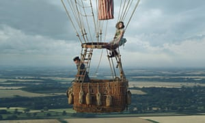 Eddie Redmayne and Felicity Jones flying in a hot air balloon in a scene from The Aeronauts
