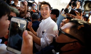 Future Forward party leader, Thanathorn Juangroongruangkit, arrives at a rally in Bangkok, Thailand.
