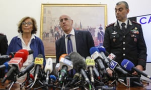 Michele Pristipino with fellow prosecutor Nunzia D'Elia (left) and police commander Francesco Gargaro (right) at a press conference in Rome