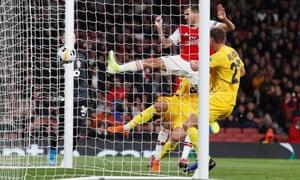 Arsenal's Dani Ceballos scores their fourth goal.