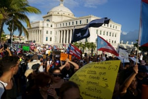 Thousands attend a massive anti governor Ricky Rosselló rally in front of the Capitol building.