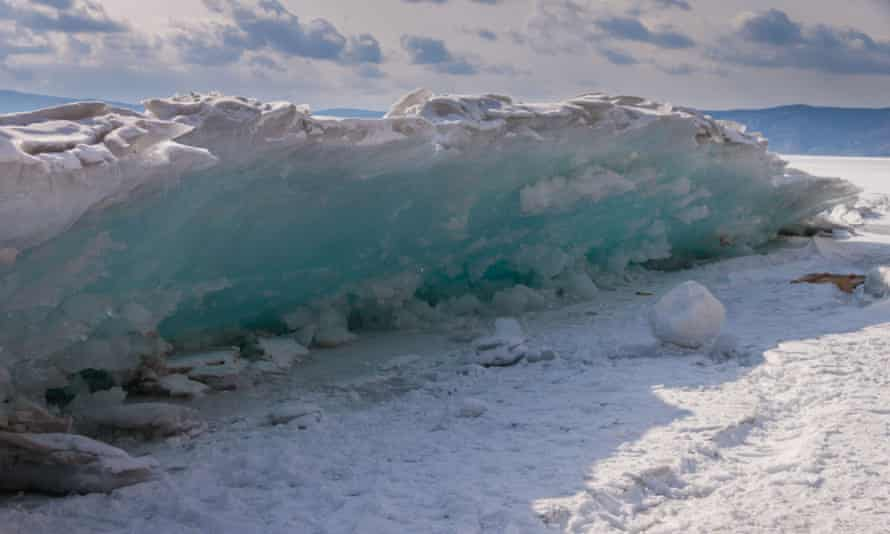 The spectacular sight of ice shove on the shore of Lake Baikal.