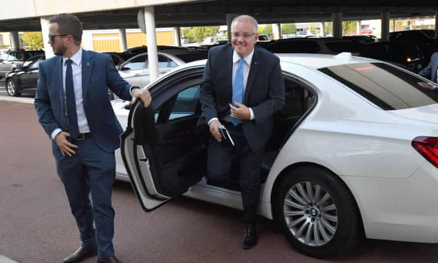 Scott Morrison arrives for the leaders debate at Seven West Media studios in Perth on Monday.