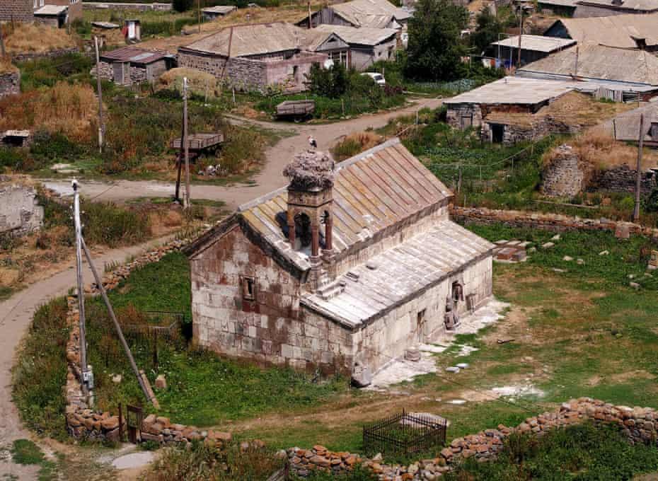 A stork perched on the ancient Baraleti church, near Tsikhisjvari Samtskhe-Javakheti