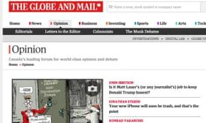 Enjoying a record online readership, the Globe & Mail website.