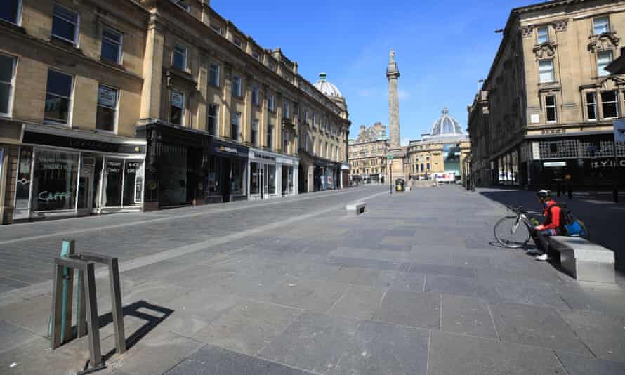 An empty street in Newcastle upon Tyne as shops and business remain closed.