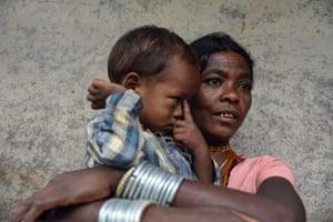 Kunwariya Bai, 40, pictured with her grandson