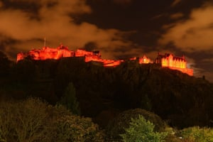 Edinburgh Castle illuminated in red before Armistice Day in support of the 2016 Scottish Poppy Appeal