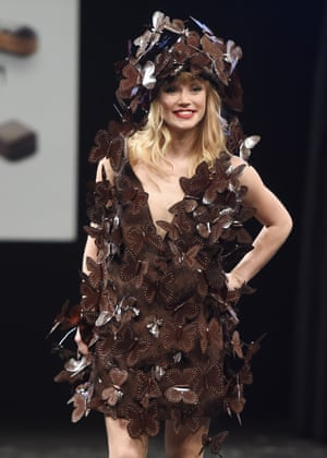 French singer Lea Deleau presents a chocolate dress