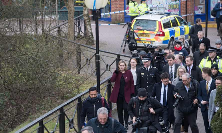 The British home secretary, Amber Rudd, visits Maltings shopping centre