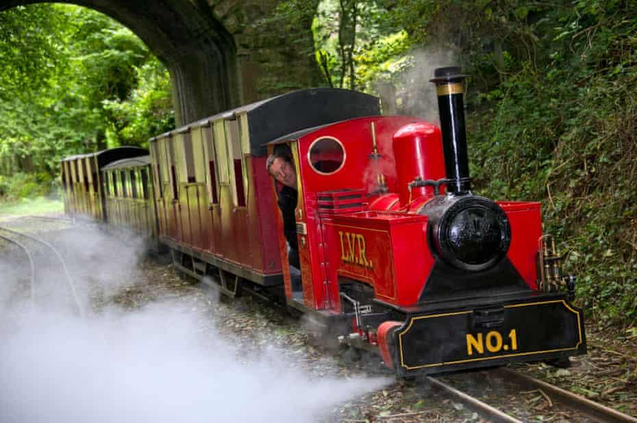 Lappa valley steam train going under bridge