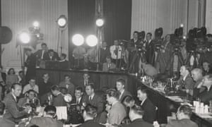 "Gary Cooper (far left) testifying as a ""friendly witness"" before the House Un-American Activities Committee."