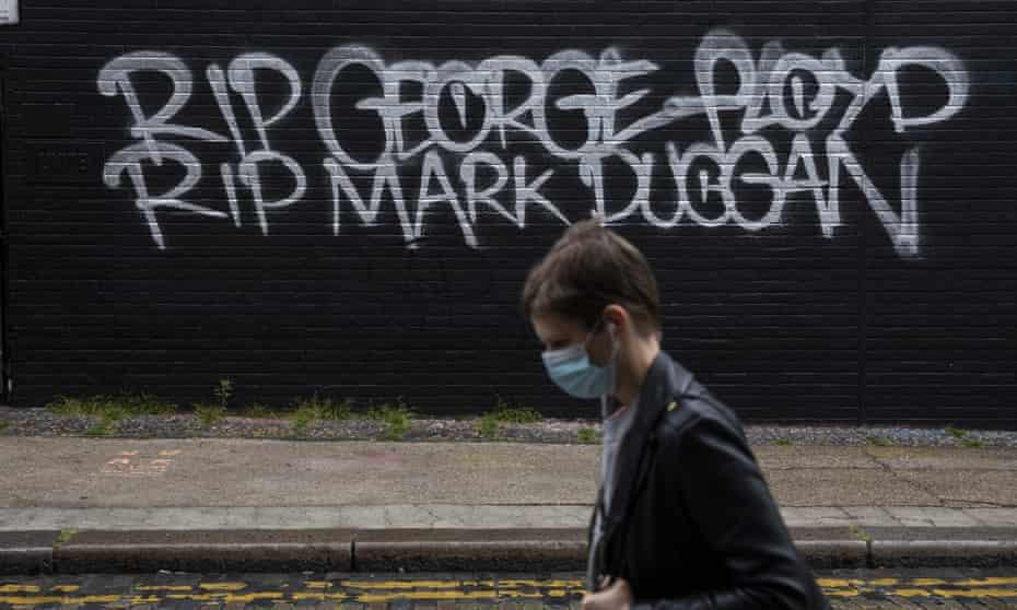 Graffiti in Shoreditch, east London, reads 'RIP George Floyd, RIP Mark Duggan'