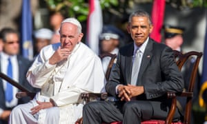 Pope Francis joins Barack Obama at the White House.