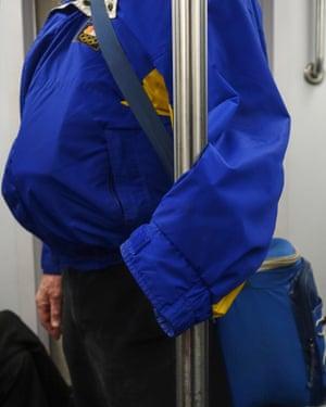 Subwayhands series of photographs taken in New York on subway trains before the Coronavirus lockdown by photographer Hannah La Follette Ryan.