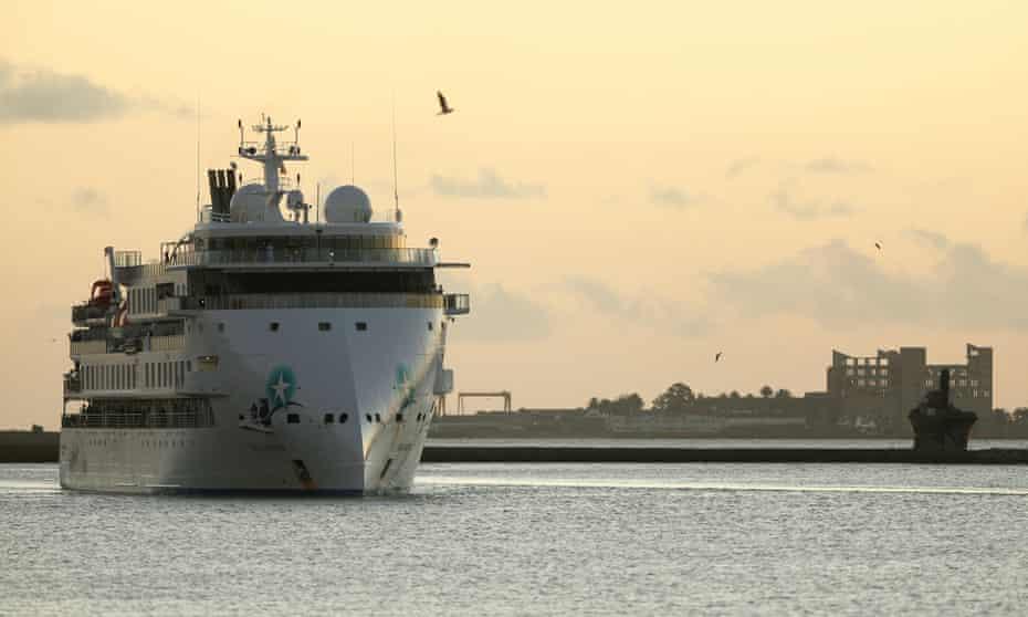 Australian cruise ship Greg Mortimer arrives at the port in Montevideo, Uruguay, on 10 April 2020.
