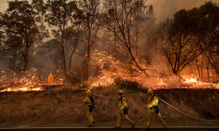 Firefighters battle a wildfire in California.