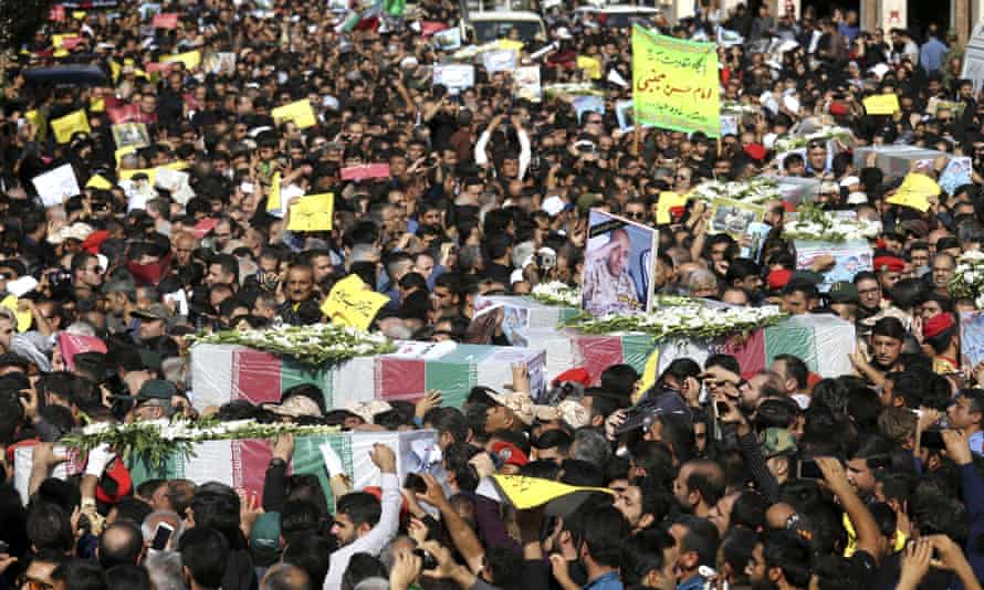 Mourners at the funeral of Ahvaz dead