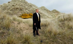 Trump on the sand dunes of the Menie estate in 2010.
