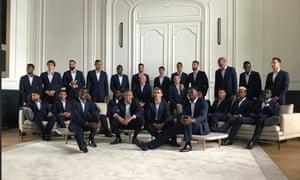 The France team photo with N'Golo Kanté all but hidden behind Paul Pogba.