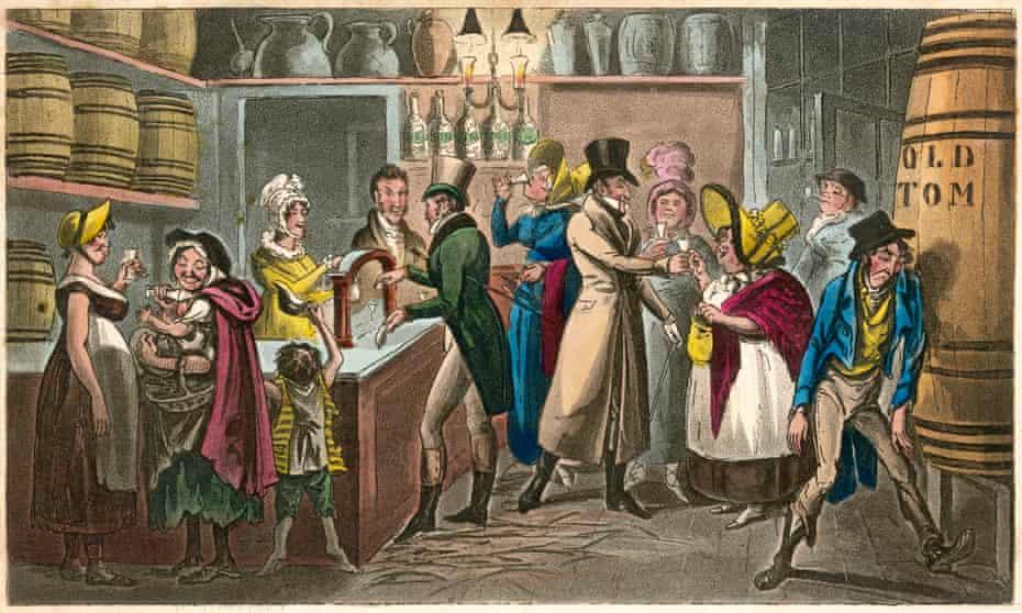 A London gin palace, circa 1820.