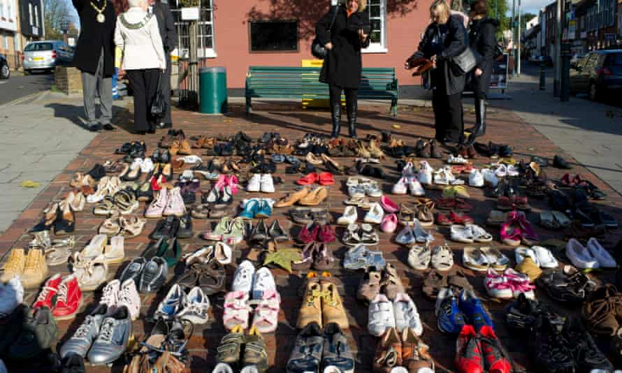 In 2011, 170 pairs of shoes were laid out to represent the number of women, children and men killed every year in the UK due to domestic violence.