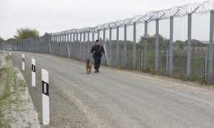 A guard with a dog walks beside Hungary's fortified border with Serbia.
