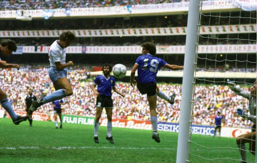 Gary Lineker heads home for England from a cross by John Barnes