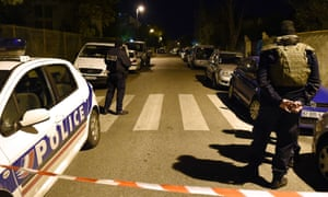 Police secure the area in Marseille where a teacher at a Jewish school was injured in a stabbing on Wednesday night.