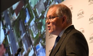 Scott Morrison delivers a speech at the Australian Housing and Urban Research Institute on Monday.