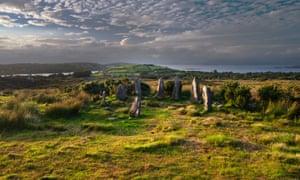 Ardgroom stone circle looking north toward the Iveragh peninsula.