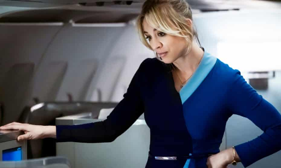 There may be some turbulence ... Kaley Cuoco as Cassie in The Flight Attendant.