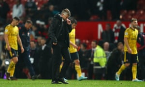 Ole Gunnar Solskjær heads for the tunnel after another difficult night at Old Trafford.