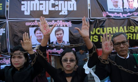 Journalists demand the release of Reuters reporters Wa Lone and Kyaw Soe Oo in Pyay, central Myanmar.