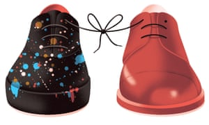 Illustration of two different shoes, tied together by their laces