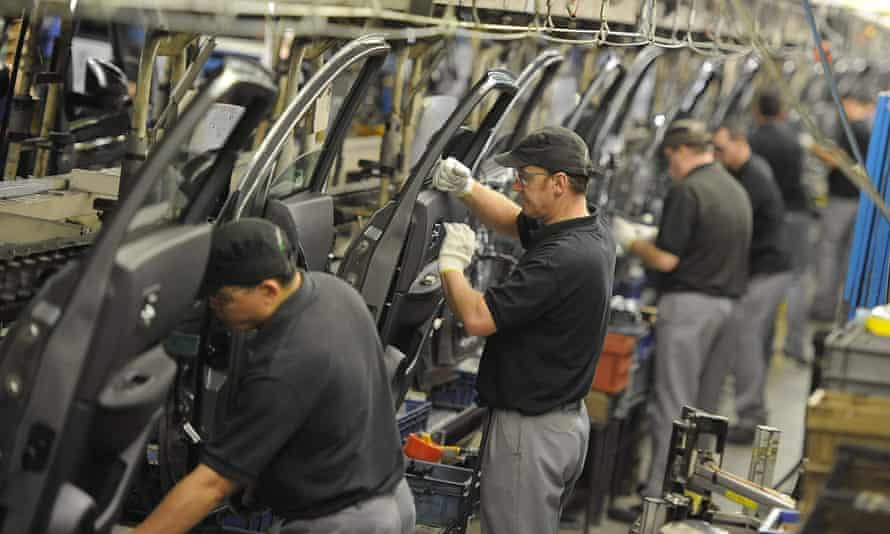 Nissan technicians prepare doors for the Qashqai at the company's plant in Sunderland.