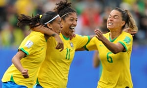Brazil's Christiane celebrates her second goal.
