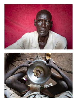 A man holds a bowl of food that he would typically eat