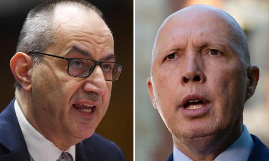 Australian home affairs department secretary Mike Pezzullo and Australian defence minister Peter Dutton.