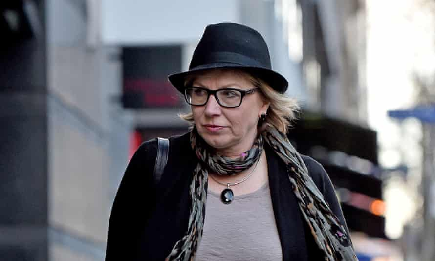 Domestic violence campaigner Rosie Batty walks to the royal commission in Melbourne on Monday.