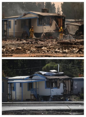 Top: firefighters spray water on fire damaged mobile home at the Journey's End Mobile Home Park on 9 October 2017 in Santa Rosa, California. Bottom: the same mobile home, a year later.