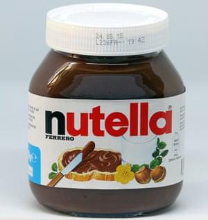 A jars of Nutella chocolate-hazelnut paste.