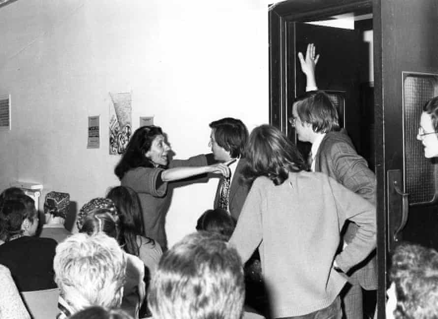 Selma James and male journalists at the launch of the Wages for Housework campaign in 1975.