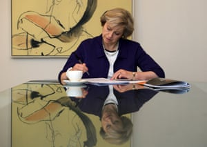 The new prime minister, Theresa May, prepares her keynote Conservative conference speech from her hotel in Birmingham on 4 October
