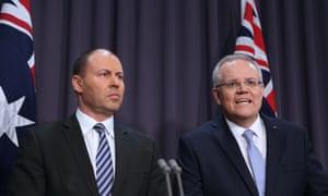Prime minister Scott Morrison (right) and treasurer Josh Frydenberg