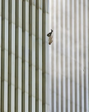 A person falls from the north tower of the World Trade Centre during the terrorist attack on New York on 11 September 2001.
