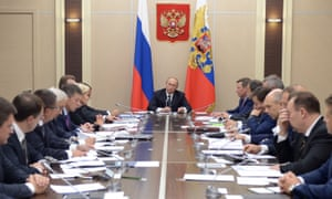 Vladimir Putin chairs a government meeting on Wednesday. He said Moscow had to act preemptively to destroy jihadists in Syria before they present a threat closer to home.