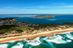 The view from above of Phillip Island.