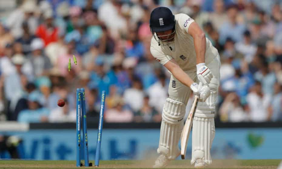 Jonny Bairstow is bowled by Jasprit Bumrah.